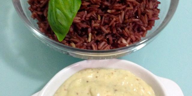 riso rosso con crema ai fichi