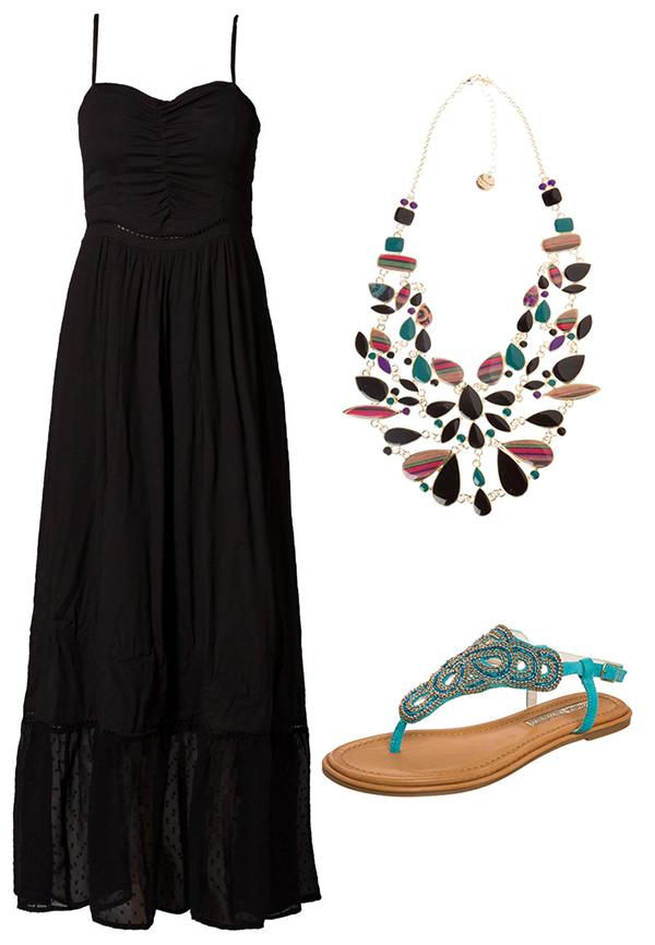 Maxi dress: Naf Naf Paris, 90 € su zalando.it Collana: Desigual, 54 € su desigual.com Sandali: Buffalo, 60 € su zalando.it